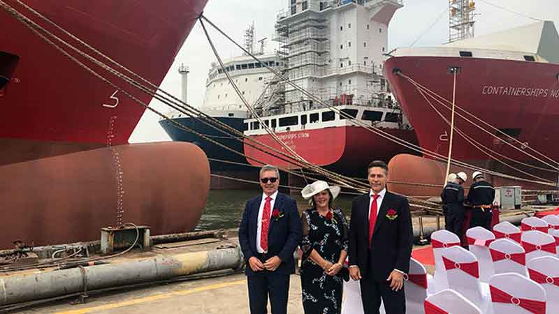 Two Containerships' vessels christened